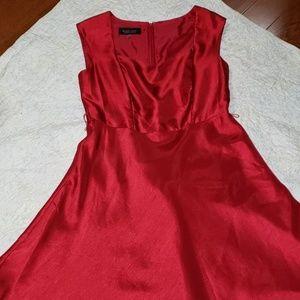 Red satin sweet heart neckline dress